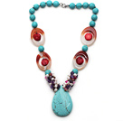 Assorted Turquoise and Red Coral and Agate and White Pearl and Amethyst Necklace with Teardrop Shape Turquoise Pendant under $ 40