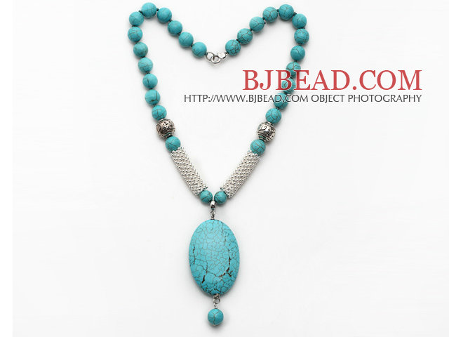 Green Turquoise Necklace with Oval Shape Turquoise Pendant and Metal Spacer Beads