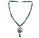 Turquoise and Metal Spacer Beads Y Shape Necklace with Blue and White Jade Donut