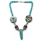 Assorted Turquoise and Tiger Eye Necklace with Long Teeth Shape Turquoise Pendant
