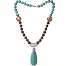 Assorted Turquoise en Tiger Eye Ketting met Teardrop Turquoise Hanger