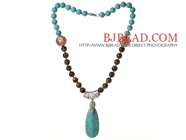 Assorted Turquoise and Tiger Eye Necklace with Teardrop Turquoise Pendant