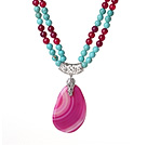 Double Strands Turquoise and Hot Pink Agate Necklace with Teardrop Hot Pink Agate Pendant under $ 40