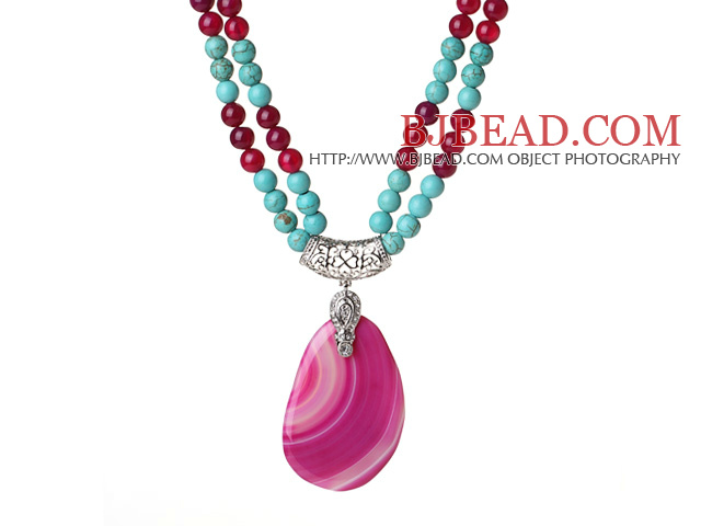 Double Strands Turquoise and Hot Pink Agate Necklace with Teardrop Hot Pink Agate Pendant