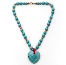 Turquoise Necklace with Heart Shape Turquoise Pendant and Yellow Color Metal Beads