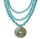 Multi Strands Turquoise Necklace with Serpentine Jade Pendant and Extendable Chain