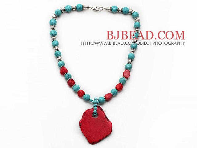 Turquoise and Red Coral and Metal Spacer Beads Necklace with Irregular Shape Dyed Red Turquoise Pendant