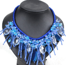 Fantastic Sparkly Clear Blue Crystal Blue Agate Hand-Knitted Party Necklace