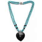 Double Strands Round Turquoise Necklace with Heart Shape Black Agate Pendant