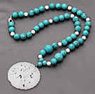 White Porcelain Stone and Turquoise Knotted Necklace with China Style White Jade Pendant under $ 40