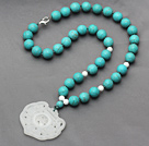 Turquoise and White Porcelain Stone Knotted Necklace with China Style White Jade Pendant under $ 40
