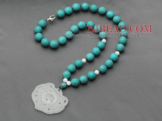 8548300a5c6c Turquesa y Blanco Porcelana Piedra Collar anudado con China Estilo Blanco  Colgante Jade