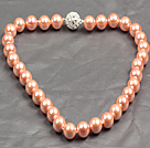 Fashion Single Strand 12Mm Pink Round Seashell Beads Necklace With Rhinestone Magnetic Clasp