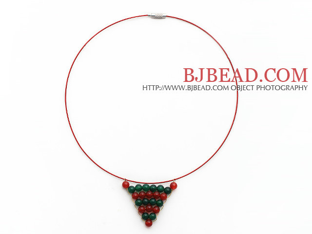 Carnelian and Green Agate Wire Wrapped Triangle Pendant Necklace with Red Wire and Magnetic Clasp