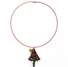 2014 Christmas Design Green Agate and Carnelian Christmas Tree Shape Pendant Necklace with Red Wire and Magnetic Clasp