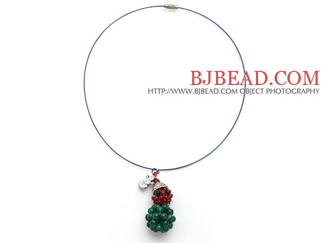 2014 Christmas Design Green Agate and Carnelian Christmas Snowman Shape Pendant Necklace with Blue Wire and Magnetic Clasp