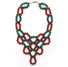 2014 Christmas Design Green Agate and Carnelian Link Statement Necklace