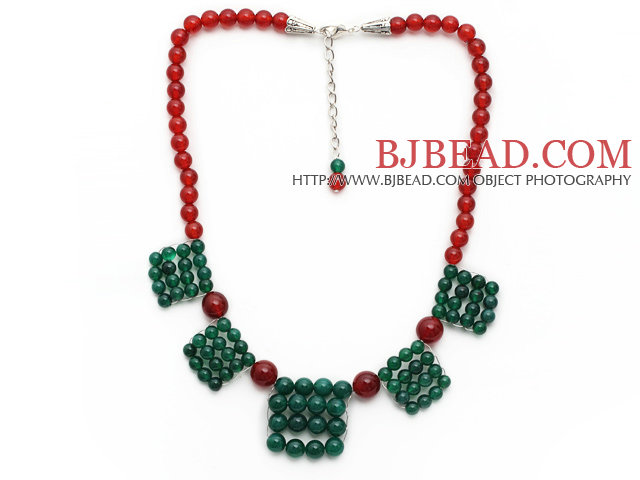 2014 Christmas Design Green Agate and Carnelian Necklace with Extendable Chain