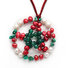 2013 Christmas Design White and Red Pearl and Green Agate and Turquoise Chips Star Shape Pendant Necklace with Reddish Brown Leather