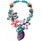 Assorted Turquoise and Agate and Shell Flower Necklace with Crystallized Agate Pendant under $ 40