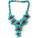 Assorted Green Turquoise and Red Coral Flower Party Necklace under $ 40