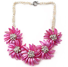 White Freshwater Pearl and Clear Crystal and Hot Pink Shell Flower Necklace under $ 40