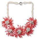 White Freshwater Pearl and Clear Crystal and Red Shell Flower Necklace under $ 40