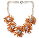 White Freshwater Pearl and Clear Crystal and Orange Yellow Color Shell Flower Necklace under $ 40