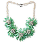 White Freshwater Pearl and Clear Crystal and Green Shell Flower Necklace