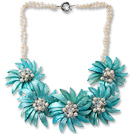 White Freshwater Pearl and Clear Crystal and Blue Shell Flower Necklace under $ 40