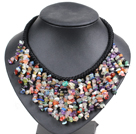 Marvelous Statement Multi Color Multi Gemstone Chips Hand-Knitted Bib Necklace