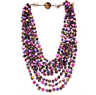 Multi Strands Purple and Hot Pink Color Shell Knotted Necklace with Shell Clasp