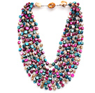 Multi Strands Peacock Green and Gray and Pink Color Shell Knotted Necklace with Shell Clasp under $ 40