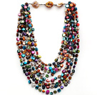 Multi Strands Assorted Multi Color Shell Knotted Necklace with Shell Clasp
