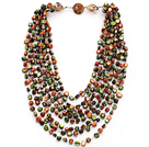 Multi Strands Green and Orange Color Shell Knotted Necklace with Shell Clasp under $ 40