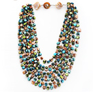 Multi Strands Peacock Green and Brown and Green Color Shell Knotted Necklace with Shell Clasp under $ 40