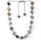 Gray Series Rhombus Shape Persian Stripe Agate Knotted Necklace with Extendable Thread
