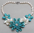 White Freshwater Pearl Shell and Turquoise Flower Necklace under $ 40