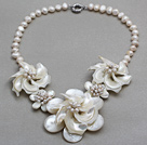 White Freshwater Pearl Shell and White Trochus Shell Flower Necklace