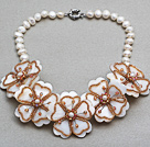 White Freshwater Pearl and White Shell and Brown Color Glass Beads Flower Necklace