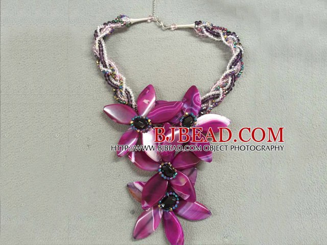 Terrific Multi Strand Colorful Crystal Rose Red Agate Flower Party Necklace