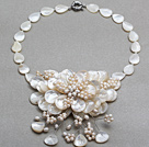 White Series White Freshwater Pearl and Teardrop Shape White Shell Flower Necklace