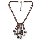Potato Shape Gray and Black and Brown Color Fan Shape Pearl Leather Necklace with Brown Leather