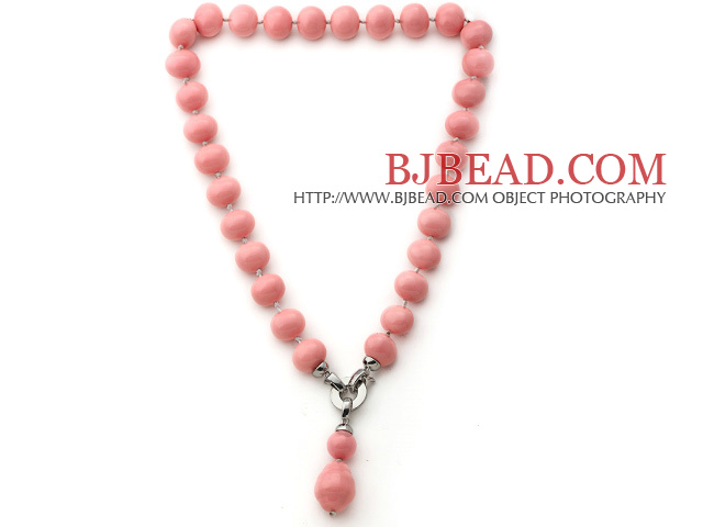 Elegent Style Potato Shape Pink Seashell Beaded Knotted Necklace with Pink Seashell Pendant