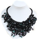 Marvelous Statement Black Series Natural Freshwater Pearl Crystal Hand-Knitted Bib Necklace under $ 30