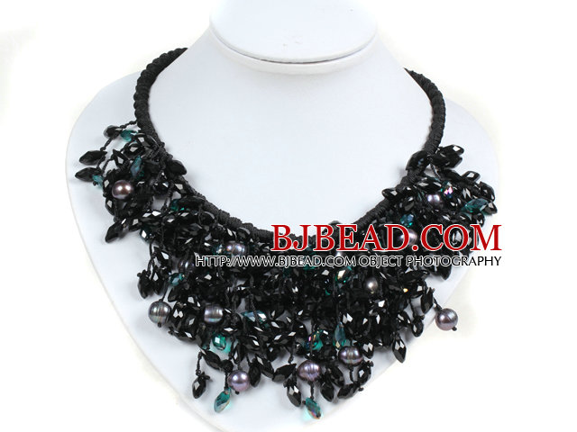 Marvelous Statement Black Series Natural Freshwater Pearl Crystal Hand-Knitted Bib Necklace