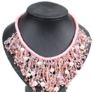 Marvelous Statement Pink Series Natural Freshwater Pearl Crystal Hand-Knitted Bib Necklace