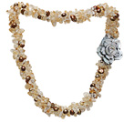 fashion multi strand citrine chips and brown freshwater pearl necklace with flower clasp