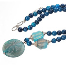 Nice Faceted Round Blue Agate Beaded Strand And Big Agate Flower Pendant Adjustable Necklace