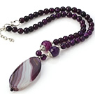 Nice Faceted Round Purple Agate Beaded Strand And Big Oval Pendant Adjustable Necklace